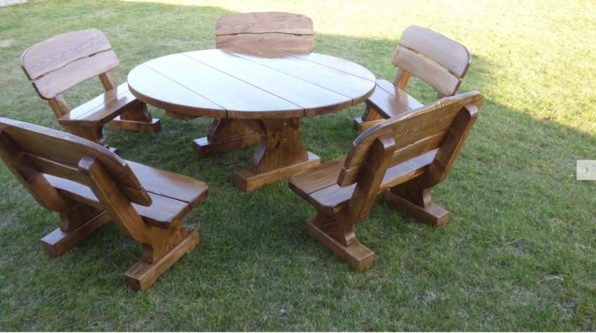 Terrassenmöbel Set rund Holz