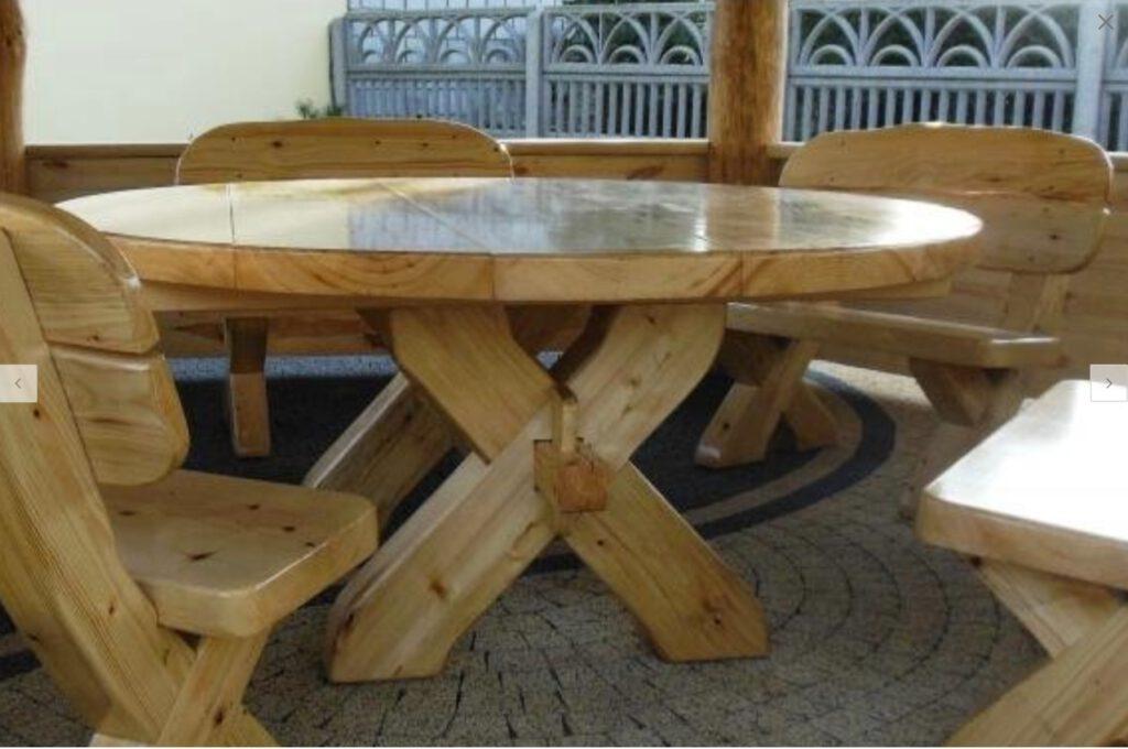 Gartenmöbel rund Holz aus Polen