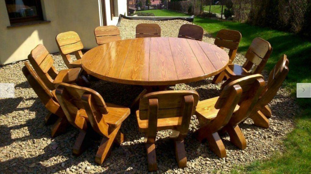 Gartenmöbel Set Rund Rustikal Massiv Holz-1