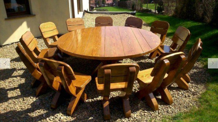 Gartenmöbel Holz Runder Tisch Rustikal Massiv für 12 Personen Holz