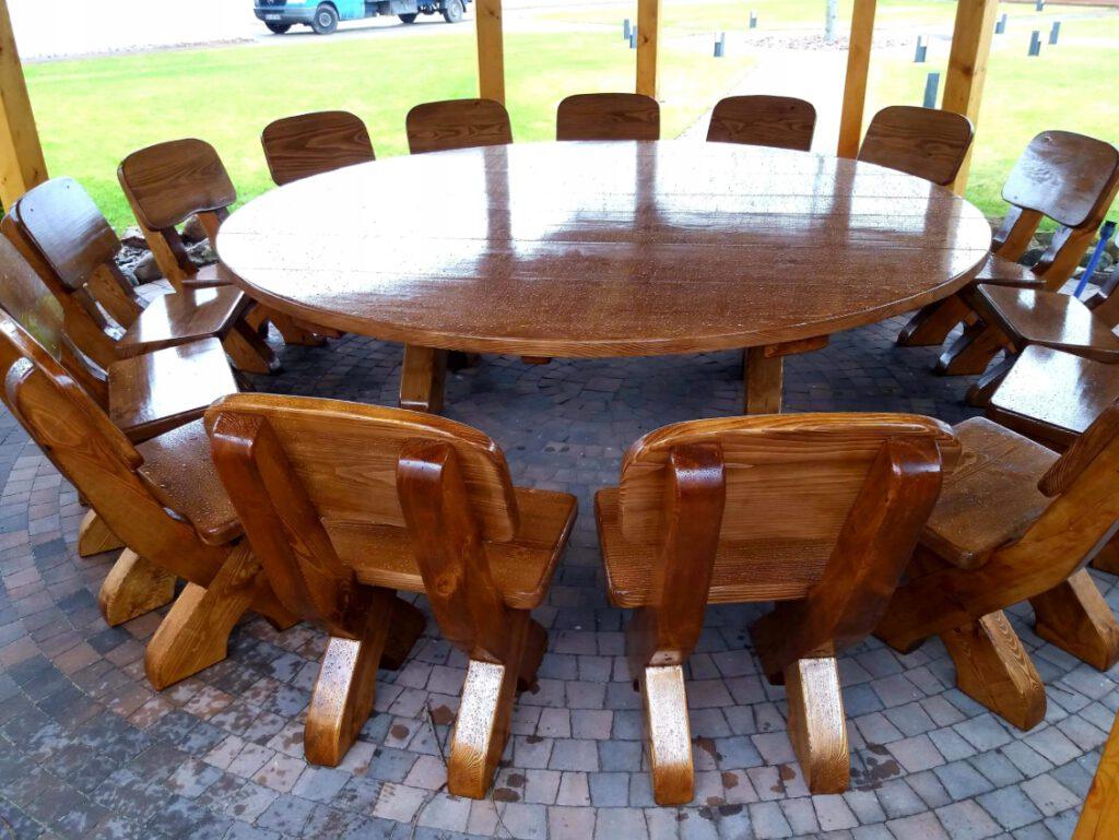 Terrassenmöbel Set Runder Tisch für 12 Personen Rustikal